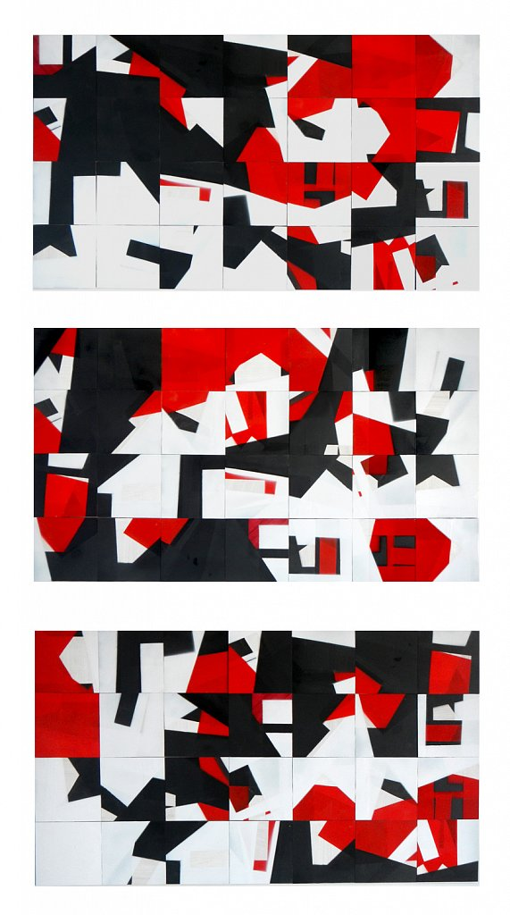 geometric in white - black - red